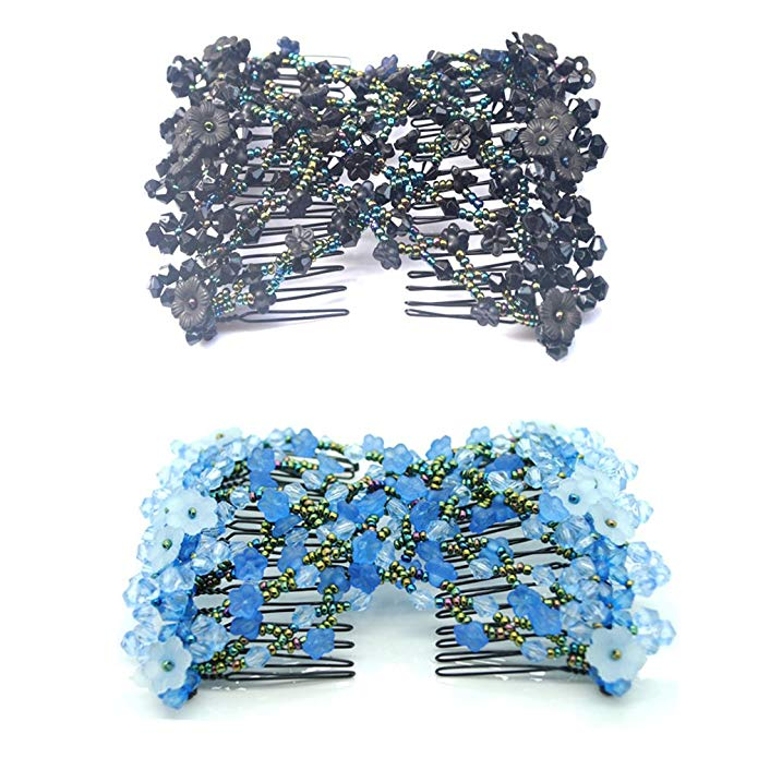 Casualfashion Ez Stretch Hair Combs, Handmade Beaded Double Clips Comb for Women Hair Accessories, 2-count