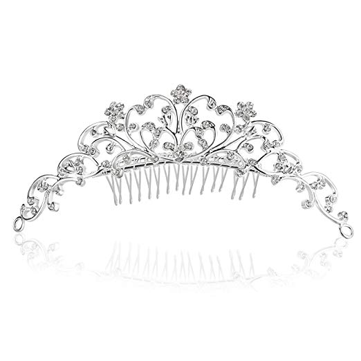 Vine Flower Design Crystal Tiara Comb - Silver Plating Clear Crystal T795