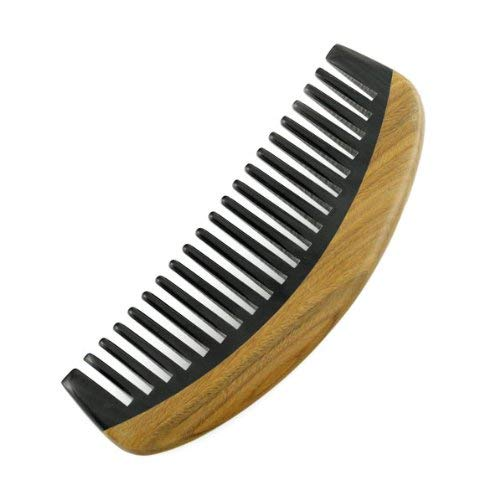 Crystalmood Buffalo Horn Wide-Tooth Dome Comb Lignum-vitae Wood Frame