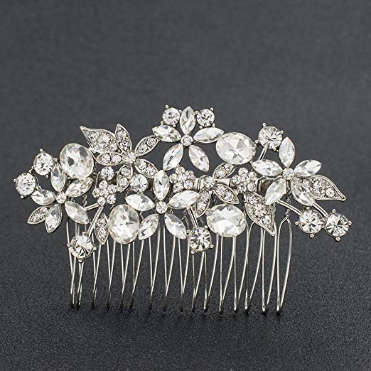 SEPBRDIALS Rhinestone Crystal Wedding Brides Flower Hair Comb Pins Accessories Jewelry FA5087 (Silver)