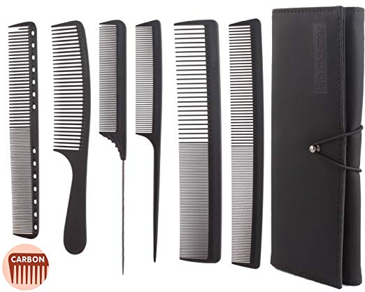 6pcs Professional Salon Hair Cutting Comb Set, Stylist Hairdresser Barber Comb Set, Stylist Carbon Comb Set