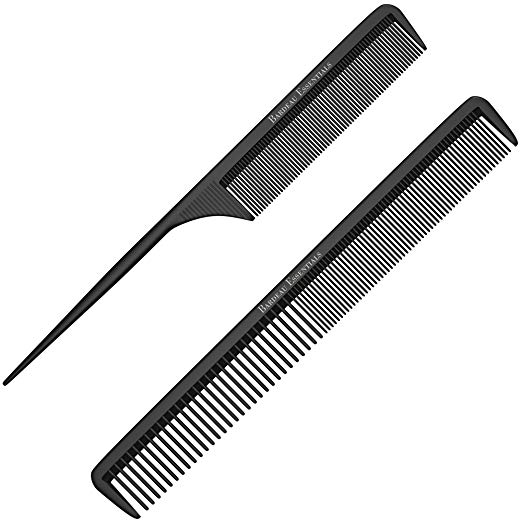 "Styling Comb and Tail Comb Combo Pack | Professional 8.75"" Black Carbon Fiber Anti Static Chemical And Heat Resistant Combs For All Hair Types 