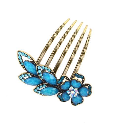 Antique Brass Rhinestone Flower French Twist Updo Comb Blue