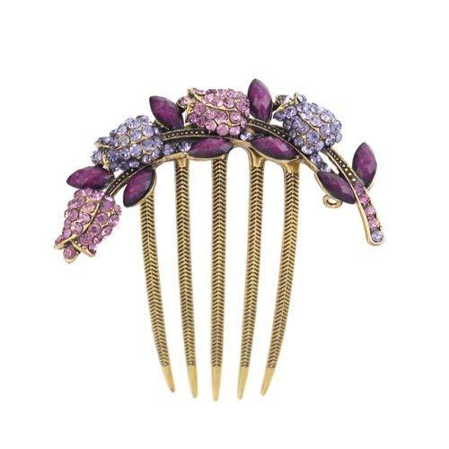 Antique Brass Rhinestone Tulips French Twist Comb Purple