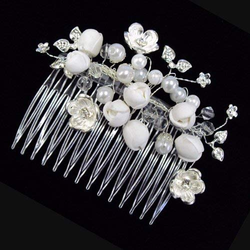 Bridal Beautiful Elegant Crystal Flowers with White Pearl bead Hair Comb