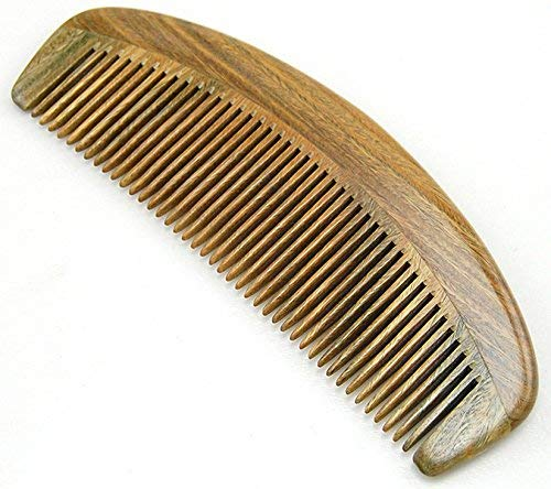 Handmade Natural Green Sandalwood Medium Tooth Hair Comb / Beard Comb, No Static Wooden Comb 6