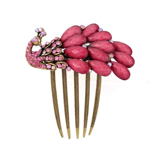 Antique Brass Rhinestone Peacock French Twist Comb Pink