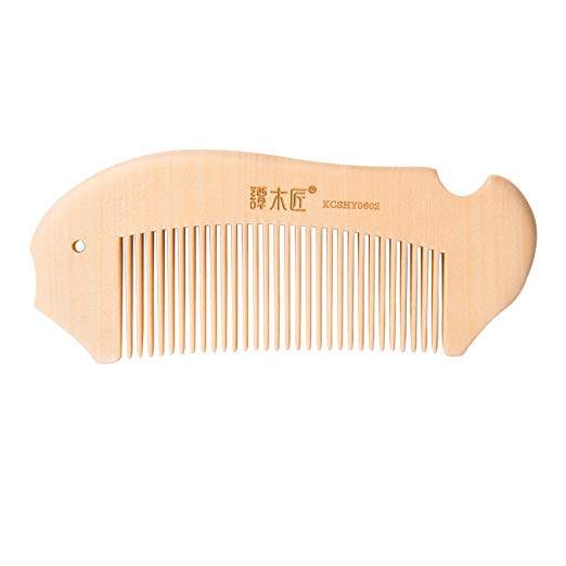 TAN MUJIANG Handcraft Natural Wood Hair Combs Accesory For Women, Men, brides, Curly Hair, Straight hair (Light color)
