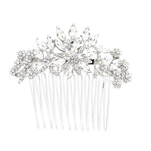 SEPBRDIALS Rhinestone Crystal Wedding Bridal Hair Side Comb Pins Hair Accessories Jewelry FA5071 (Silver)