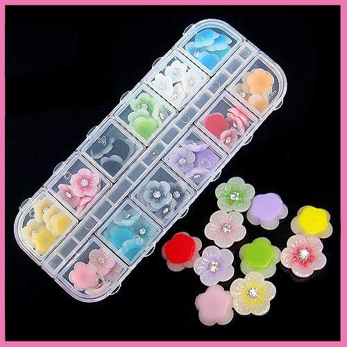 Spring Snow 60Pcs 3D Nail Art Tips Acrylic Flower Rhinestones Decorations Stickers Colors