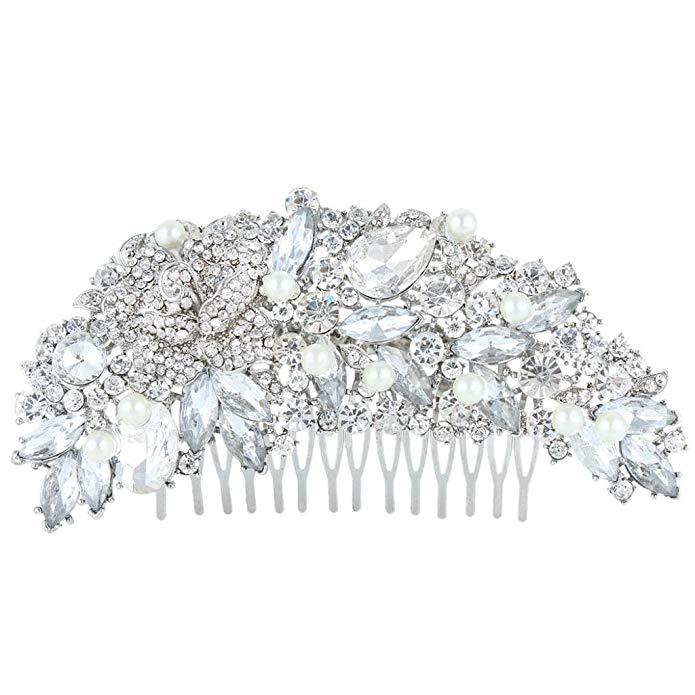 EVER FAITH 5 Inch Wedding Rose Simulated Pearl Hair Comb Clear Austrian Crystal
