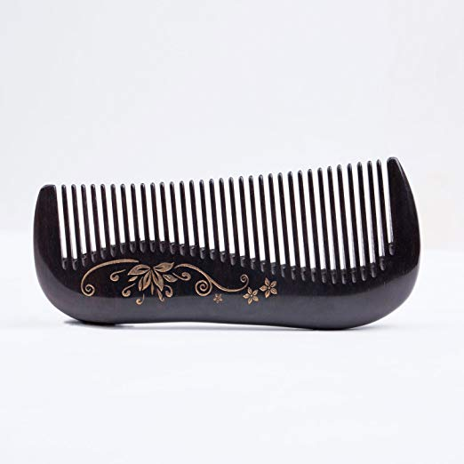 Breezelike Ebony Wood Comb - Natural Black Sandalwood Hair Comb for Women - No Static Fine Tooth Comb with Golden Painted Flower