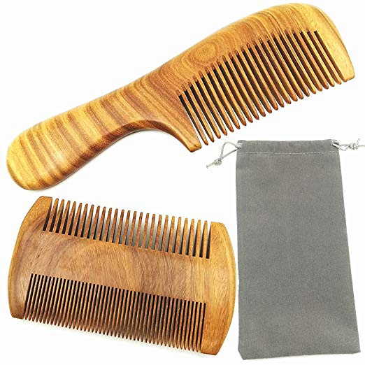 Hair Combs – Handmade Natural Aroma Green Sandalwood Wooden Comb Set - No Static Fine Sides & Wide Tooth Hair Care Styling Tools Beard Comb for Men Women and Kids