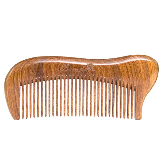 Breezelike Sandalwood Hair Comb with Premium Gift Box - Anti Static Wooden Pocket Fine Tooth Comb