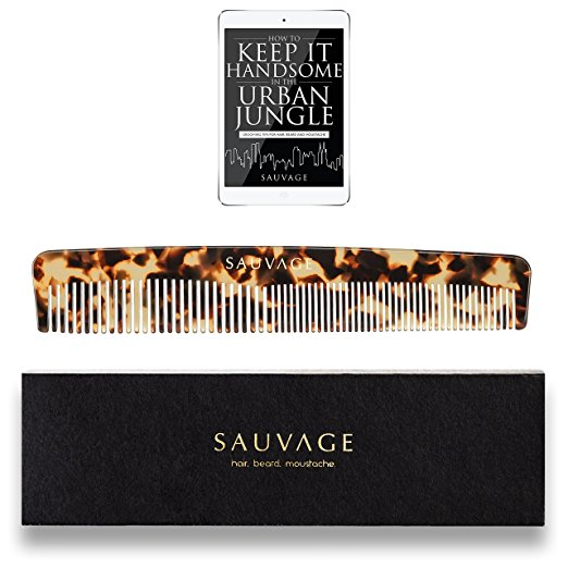 Men's Hair Comb - 6.5 Inch | Luxury Handmade Comb for Head Hair, Beard&Mustache in Premium Manly Case - Fine and Coarse Toothed Comb to use with Pomade, Oil&Beard Products by Sauvage