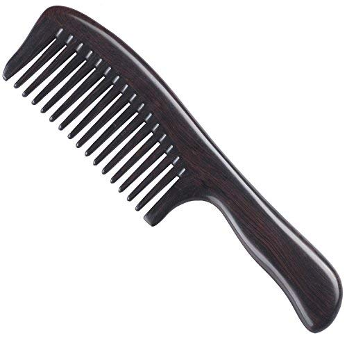 Handmade Premium Quality Natural Ebony Wood (Black Sandalwood) Massage Comb, Wide Tooth Wooden Comb with Handle 8