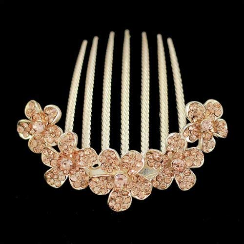 Gold Finish 5 Flowers Champagne Rhinestone Floral French Twist Comb