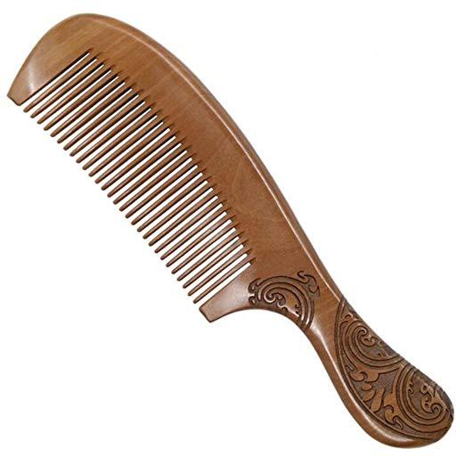 HOYOFO Natural Peach Wood Hair Comb No Static Carved Comb for Head Hair,Mustache,Beard with Handle, TM211