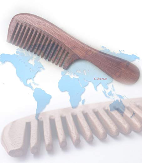 Handmade Wooden Comb Red Sandalwood Wide Tooth Comb for Hair ; Anti-static by Sister Brand 1 Piece