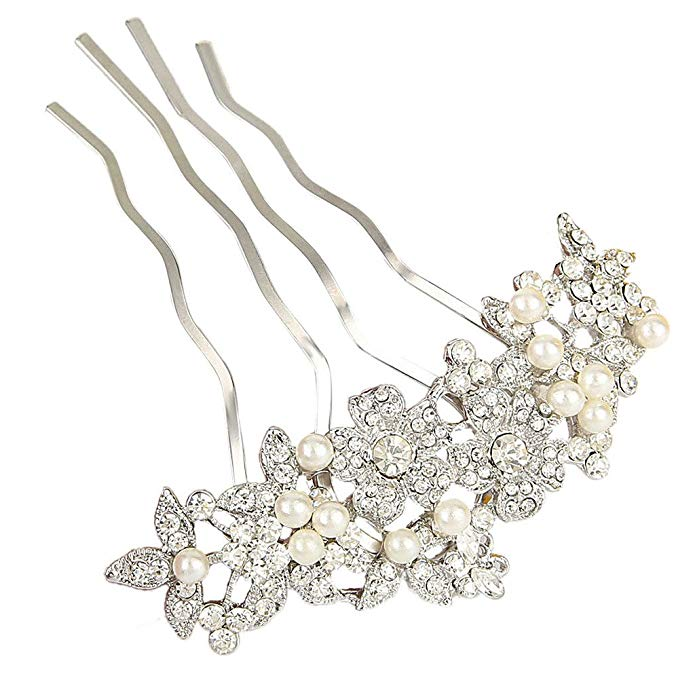 EVER FAITH Bridal Silver-Tone Simulated Pearl Flower Austrian Crystal Clear Hair Comb