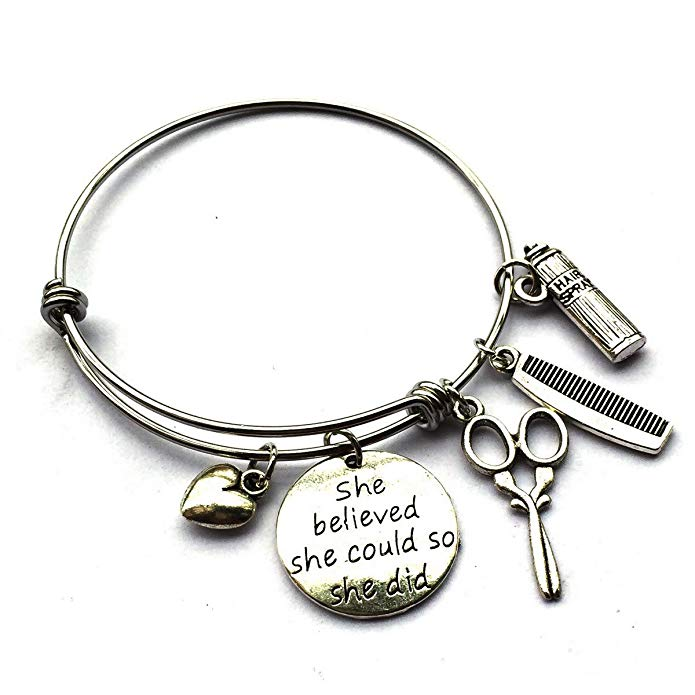 Hair Sissors/Spray/Comb Hairdresser Bracelet-Inspirational Hairstyliest Career Job Gift- She Believed She Could So She Did