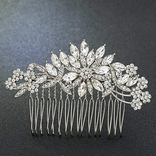 SEPBRDIALS Rhinestone Crystal Wedding Brides Hair Comb Pins Pieces Accessories Jewelry FA5089 (Silver)