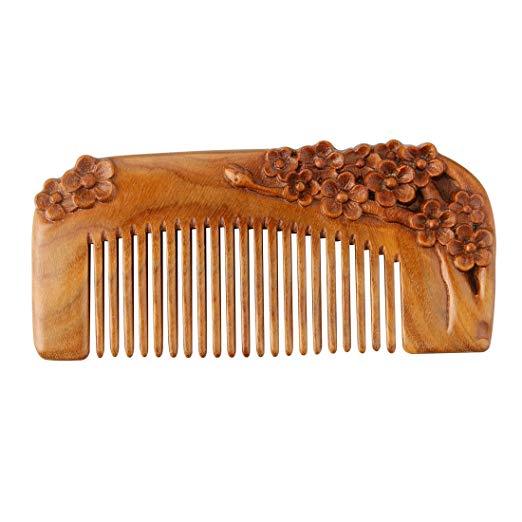 FINGER LOVE No Static Handmade Carved Natural Green Sandalwood Portable Hair Comb