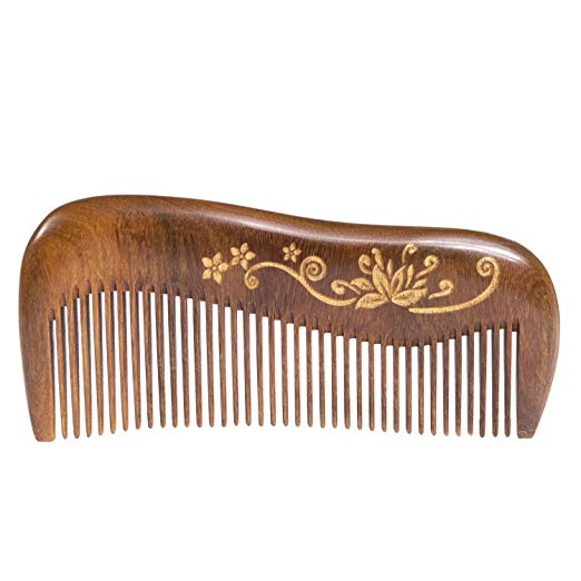 Breezelike Wooden Hair Comb - Fine Tooth Wood Comb for Women and Girls - No Static Natural Detangling Sandalwood Comb