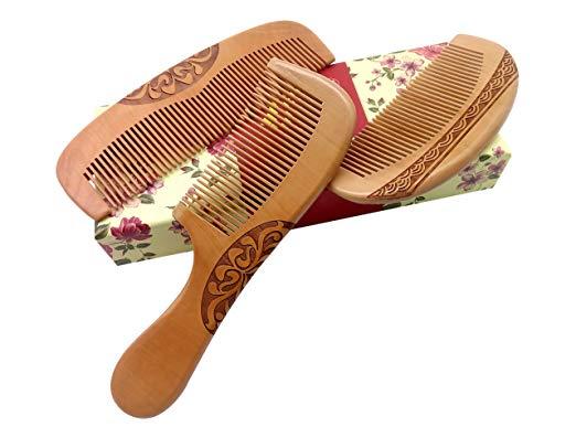 ZuiKyuan Wooden Hair Comb No Static Hair Detangler Detangling Comb with Premium Gift Box 3 Pcs
